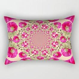 modern art cerise pink hollyhock & yellow butterflies Rectangular Pillow