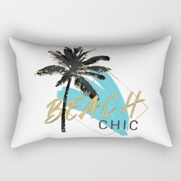 Beach Chic Palm Tree with Turquoise Abstract Rectangular Pillow