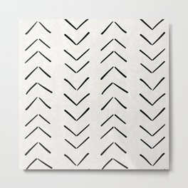 Mud Cloth Big Arrows in Cream Metal Print