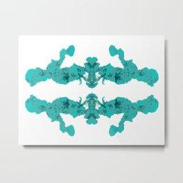 Cyan Ink Drop In Water Metal Print