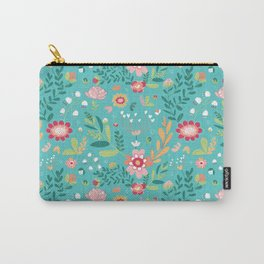 Teal Garden Hearts Carry-All Pouch