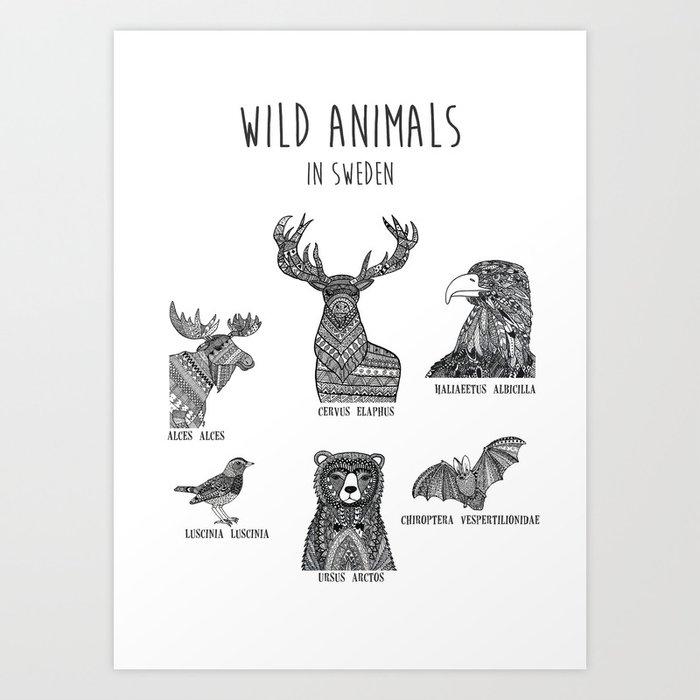 Wild animals in Sweden Art Print