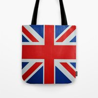 union jack Tote Bags featuring Union Jack by MICHELLE MURPHY