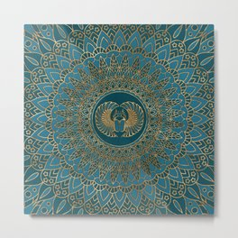 Egyptian Scarab Beetle Gold on Teal Leather Metal Print