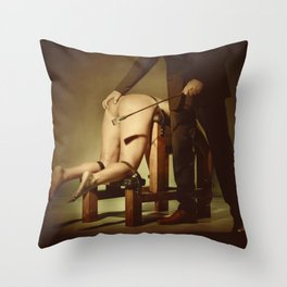 Nude Woman On the Whippingbench Throw Pillow