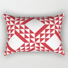 Red Triangle Abstract Patchwork Rectangular Pillow