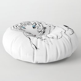 White Tiger Floor Pillow