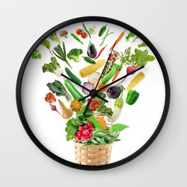 Basket of Healthy Food isolated On White Background Wall Clock