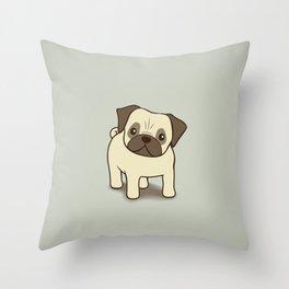 Pug Puppy Illustration Throw Pillow