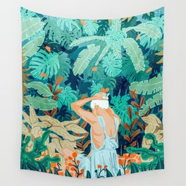 Backyard #illustration #painting Wall Tapestry