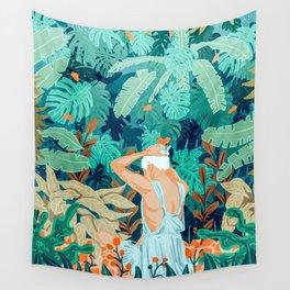 Backyard #illustration #painting Wall Tapestry