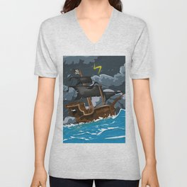 Pirate Ship in Stormy Ocean Unisex V-Neck