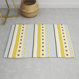 Squares and Stripes in Yellow and Gray Rug