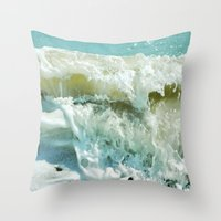 wave Throw Pillows featuring Wave by Bella Blue Photography