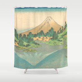 Reflection in Lake at Misaka in Kai Province, Thirty-six Views of Mount Fuji by Katsushika Hokusai Shower Curtain