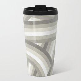 Retro Beige/Greige Stripe Pattern Travel Mug
