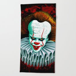 The Dancing Clown - Pennywise IT - Vector - Stephen King Character Beach Towel