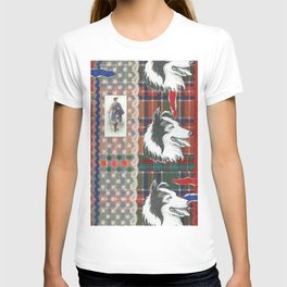 Scottish Collie, Lad, Lace & Tartan Plaid by Nettwork2Design - Nettie Heron-Middleton T-shirt