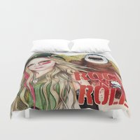 rock n roll Duvet Covers featuring ROCK N ROLL by ●•VINCE•●