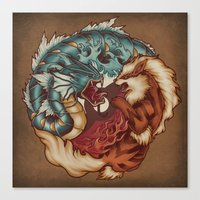 buddhism Canvas Prints featuring The Tiger and the Dragon by Megan Lara