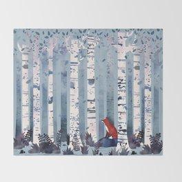 The Birches (in Blue) Throw Blanket