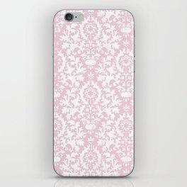 Vintage blush pink white grunge floral damask iPhone Skin