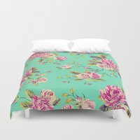 shabby chic Duvet Covers featuring Floral Shabby Chic by ilola