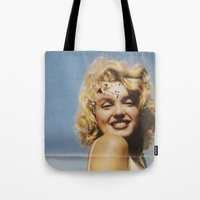 marylin monroe Tote Bags featuring Marylin 1 by j.levent