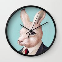 rabbit Wall Clocks featuring Rabbit by Animal Crew
