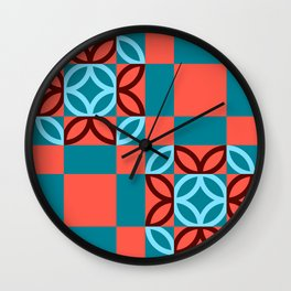 Checkered Circles Red and Blue Pattern Wall Clock
