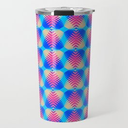Pattern of blue hearts from the sky stripes on a yellow background in a bright intersection. Travel Mug