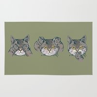 evil Area & Throw Rugs featuring No Evil Cat by Huebucket