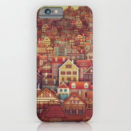 Cute City Street Scene ,Many Houses iPhone Case