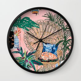 Ginger Cat in Peacock Chair with Indoor Jungle of House Plants Interior Painting Wall Clock