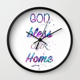 God Bless Our Home Print Watercolor Giclee Wall Art Home Decor Wall Clock