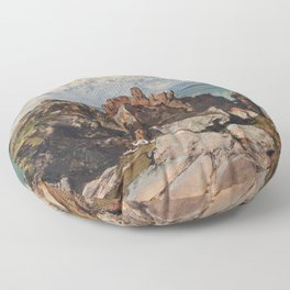Cliffs By The Sea At Cezembre, Brittany - Eugene Isabey Floor Pillow