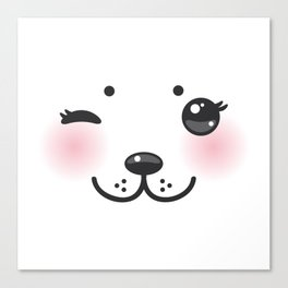 Kawaii funny albino animal white muzzle with pink cheeks and winking eyes Canvas Print
