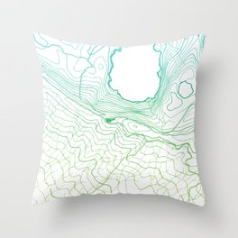 Secret places II - handmade green map Throw Pillow