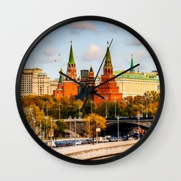Moscow Kremlin in autumn panorama left Wall Clock