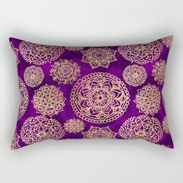 Purple and Gold Mandala Pattern Rectangular Pillow