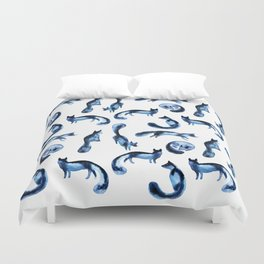A pack of silver foxes. Duvet Cover
