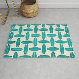 Teal Surfboard Pattern Rug
