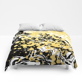 Sukie - abstract gold black and white foil glitter shiny sparkle hipster painting free spirit cosmic Comforters