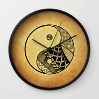 ying yang Wall Clocks featuring Ying Yang by WonderfulDreamPicture
