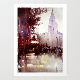 Paris atmospheric #5 - Watercolor painting Art Print