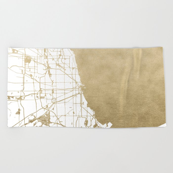 Chicago Gold and White Map Beach Towel
