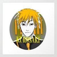 Ichigo Kurosaki Neon Art Print