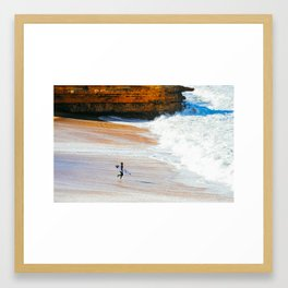 Surfer go-out, Winkipop/Bells Beach, Victoria, Australia Framed Art Print