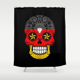 Sugar Skull with Roses and Flag of Germany Shower Curtain