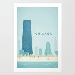 Vintage Chicago Travel Poster Kunstdrucke